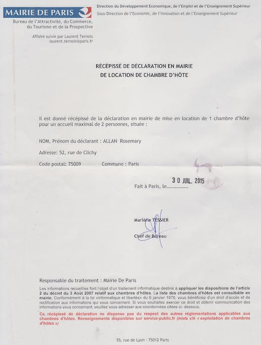 I am registered with the French Authorities.