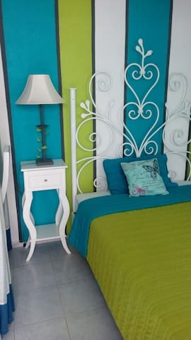Funtional and very cute blue-green studio