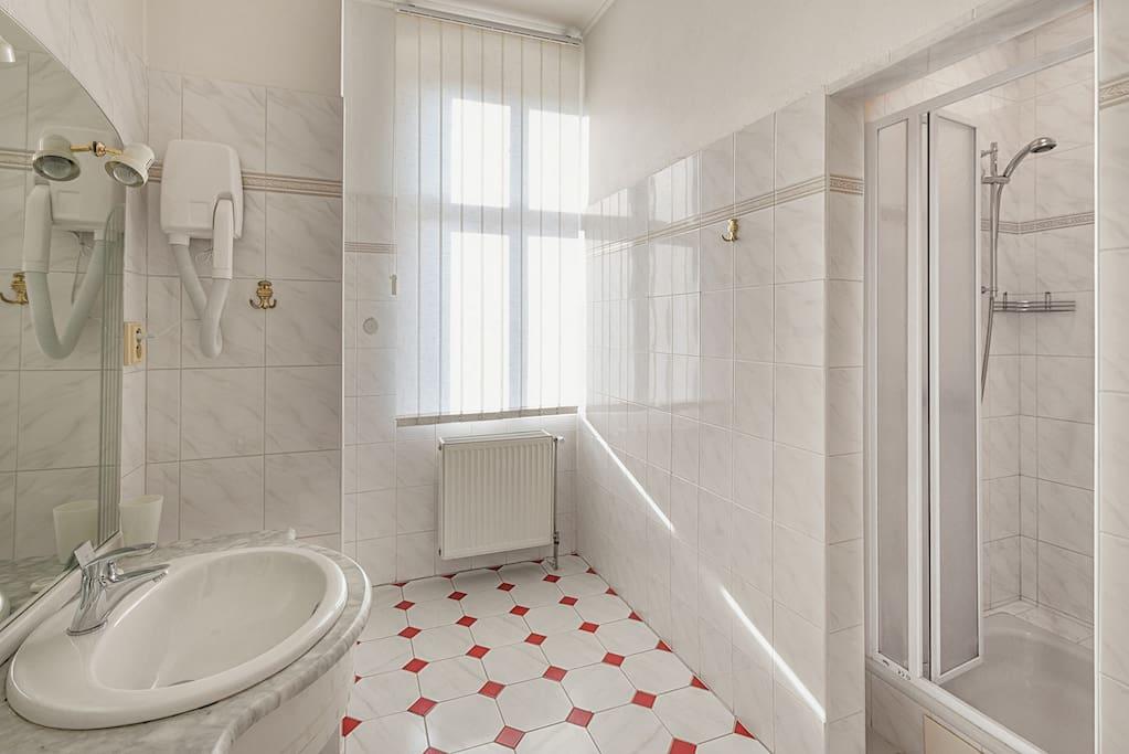 světlá útulná koupelna se sprchovým koutem
