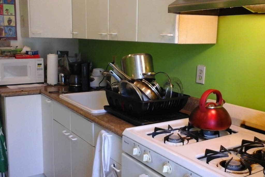Comfortable kitchen  with all the necessary dishes/pots/pans that you might need