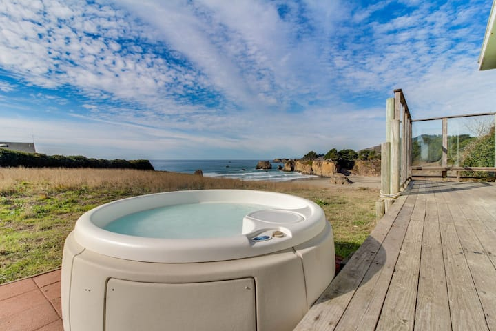 Dog-friendly home w/ private beach access, hot tub, & stunning views