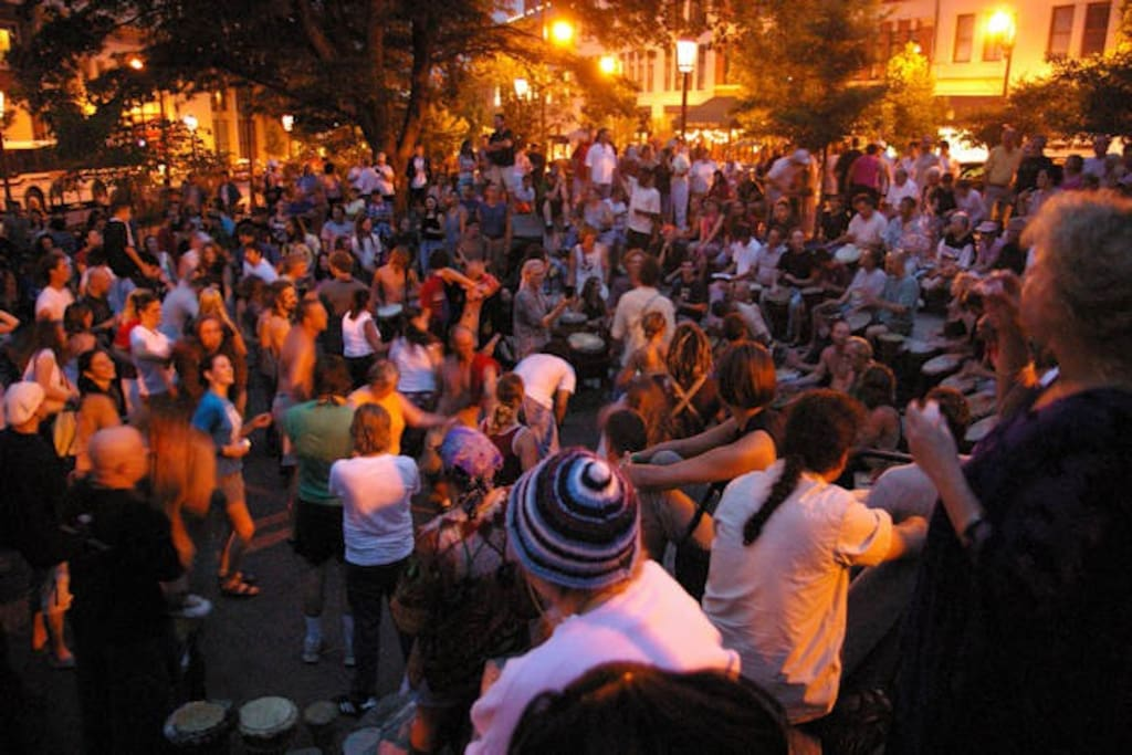 Asheville Drum Circle.  Friday nights (April-October) in Pritchard Park (downtown on Patton Avenue at College Street).