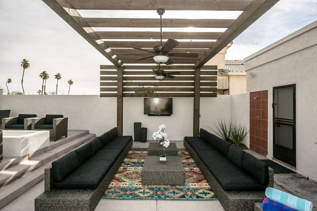 """Outdoor living, with large seating area, 55"""" TV, with soundbar"""