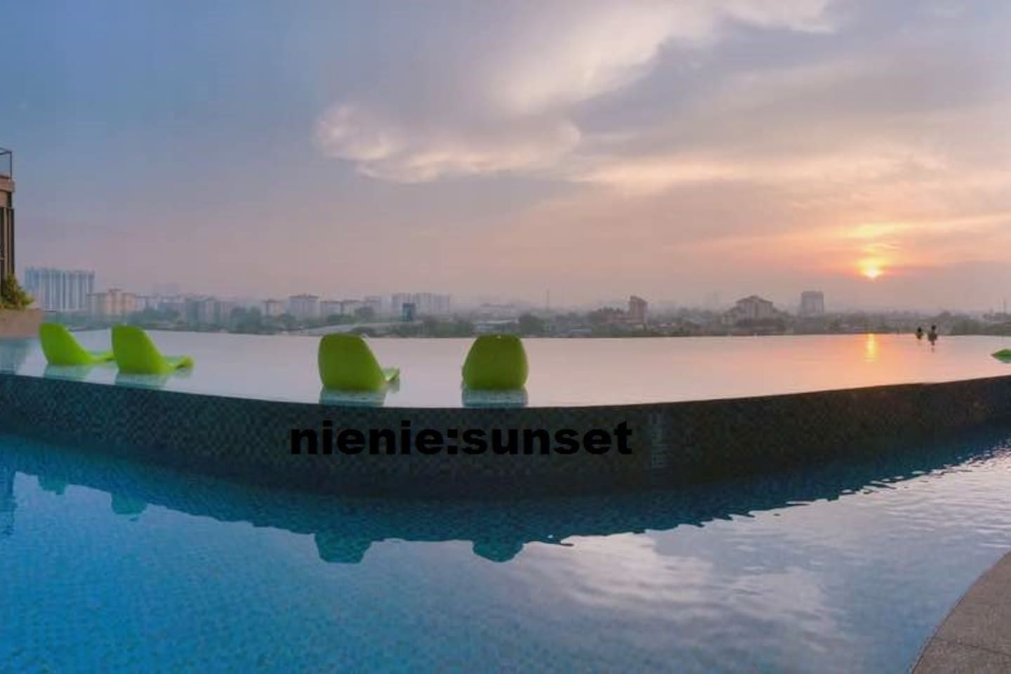 sunset pool view
