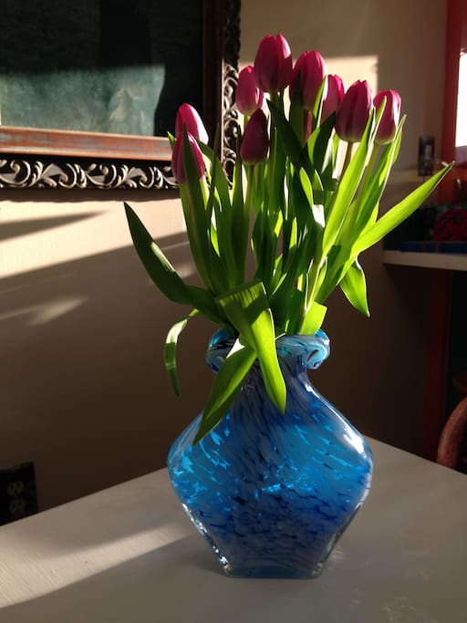 A lovely good-bye bouquet from a long-term Airbnb  guest, from China.