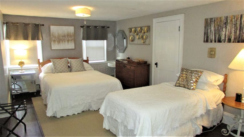 main room with queen bed and twin bed
