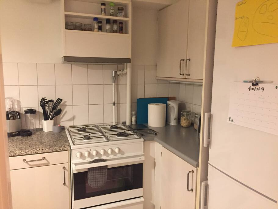 The kitchen has a gas stove and oven, and also a toaster oven, electric kettle and a blender