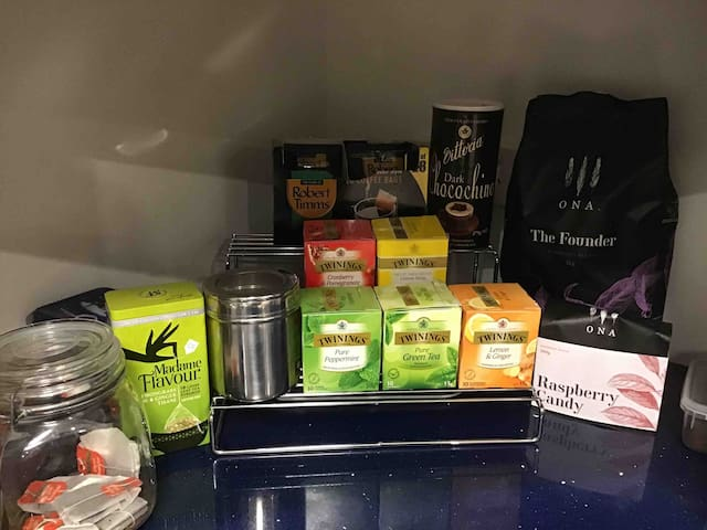 A great range of complimentary tea.