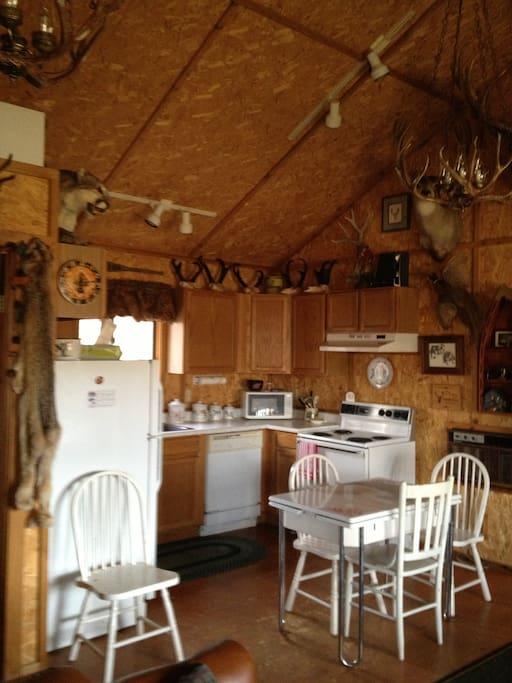 Rustic inside of cabin.