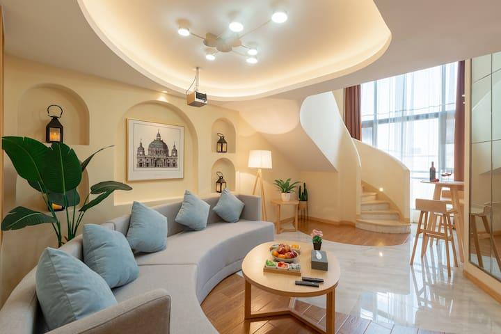 【筑友荟】Loft/轻奢圆床房/超大投影/北欧风/免费停车/临近贵阳北站