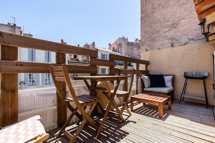 Studio - Terrasse & CLIM! ❤️ au cœur de Marseille