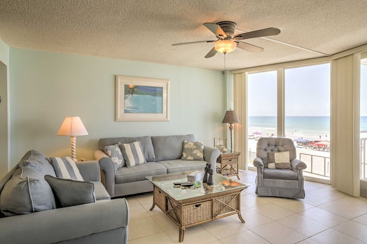 You'll have an amazing view of the beach and the ocean from the living room.