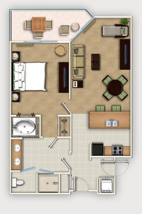 Floor Plan 1-Bedroom PLUS.  Laundry facilities are located in the privacy of your own unit.