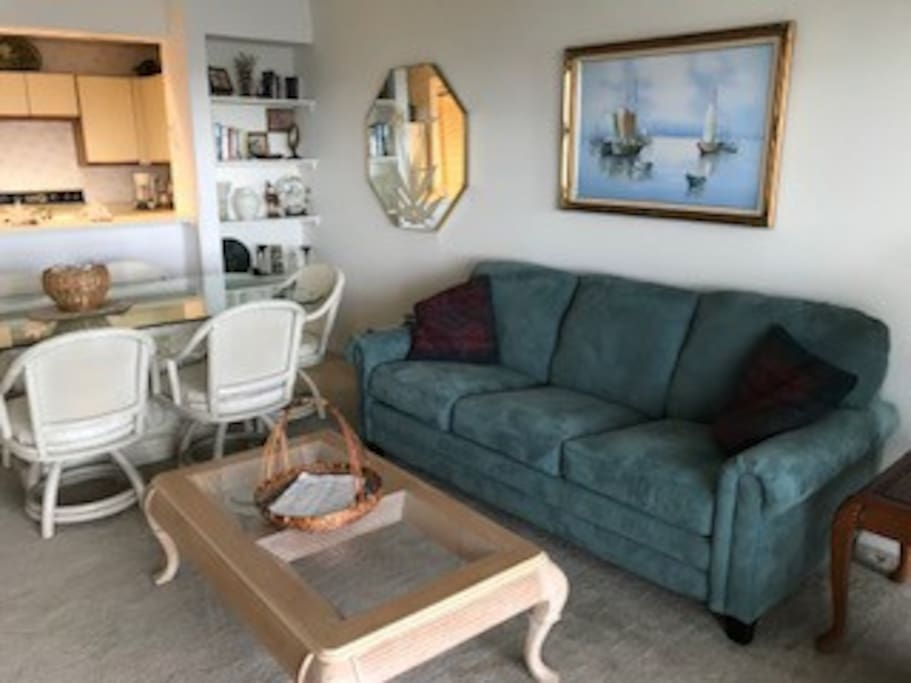 Comfort and extra bed in living area with pull-out couch