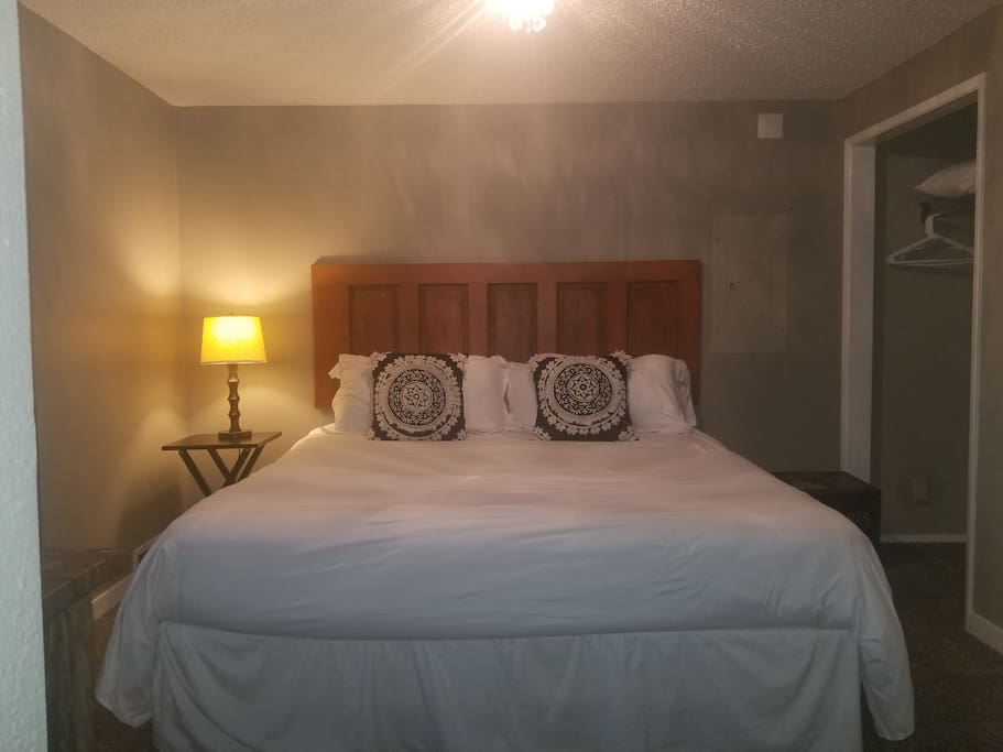 Master bedroom, Kind pillowtop matress, with walk in closet, elegant lighting, and attached 3/4 bath with shower.