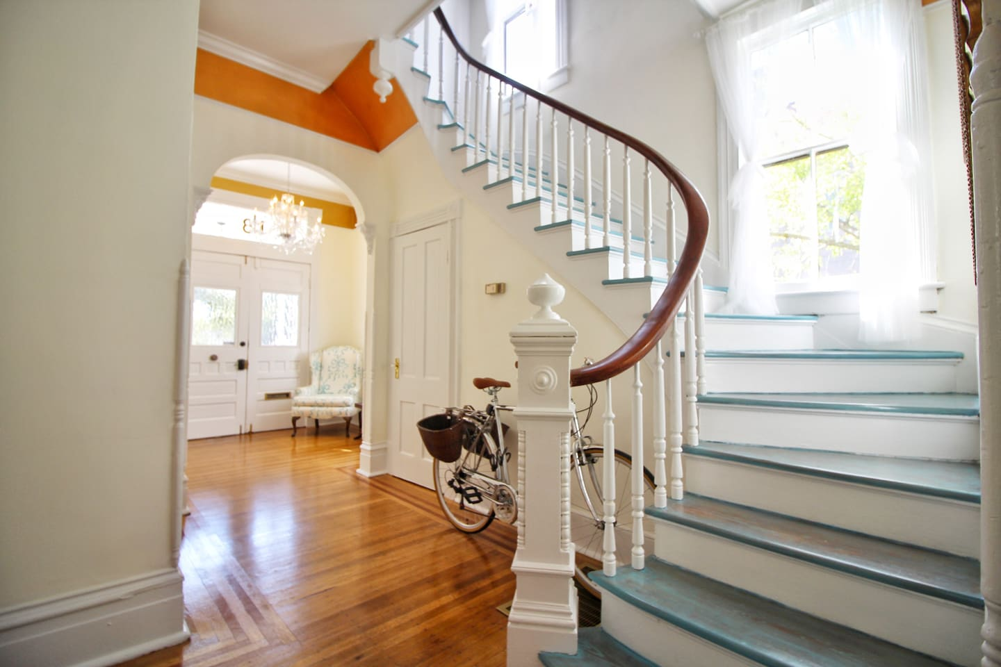 Up a winding stair case, full of natural light
