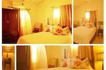 Queen bedroom complete with air conditioning unit, bedside lamp, clock radio, ceiling fan and adequate closet space