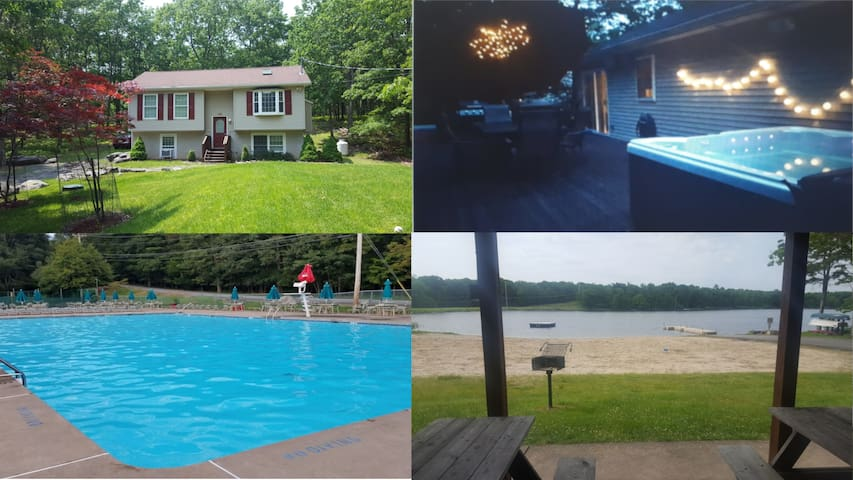 ✨Great Lodge/ Lake Beach/ Huge Deck/ Hottub/Pool