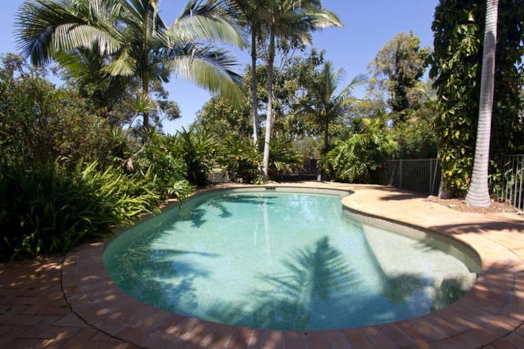 Heated Magnesium Pool & Hydrotherapy Spa just a few steps down from the house.
