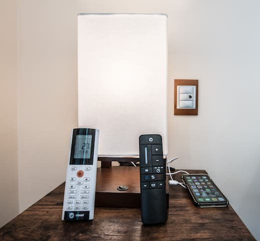Each room has remote controls to modern fans, and energy saving inverters. We highly recommend to them off if you are way! The recommended temperature is 27. There is a night + quiet mode.