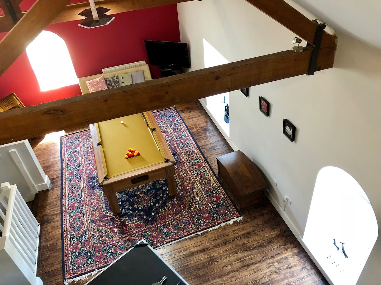 """Pool table 7""""x4"""", Table tennis, board games, Freeview TV, sofa bed."""