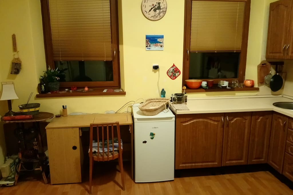 Kitchen with PC table.