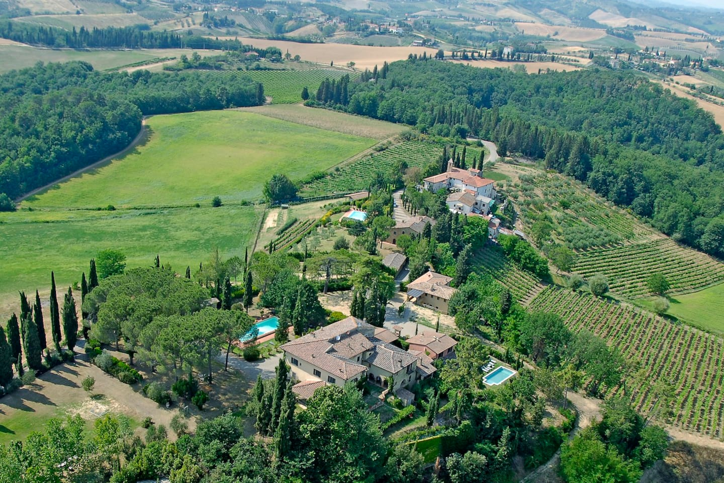 The aerial view of our villa complex in Tuscany