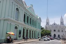 Two placs to visit in Santa Ana: Our Cathedral and Theater.