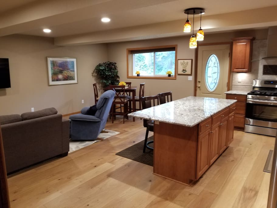 All of the lights in the room are on dimmer switches.  You can have full lighting in the kitchen, 50% lighting in one part of the great room and 20 % lighting in another!  You can have fun and set the lighting to fit your mood!