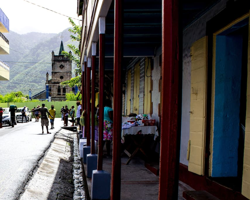 SOUFRIERE CATHOLIC CHURCH AND ROADSIDE MARKET AROUND THE CORNER