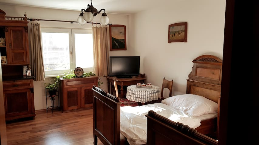 Cozy apartment with 100 years old wooden furniture