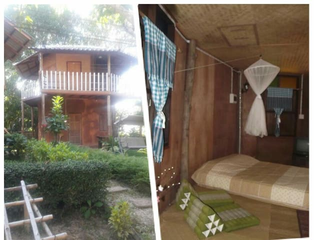 King bed, Baan Din (Earth house) in town - Mueang Chiang Rai - Dom