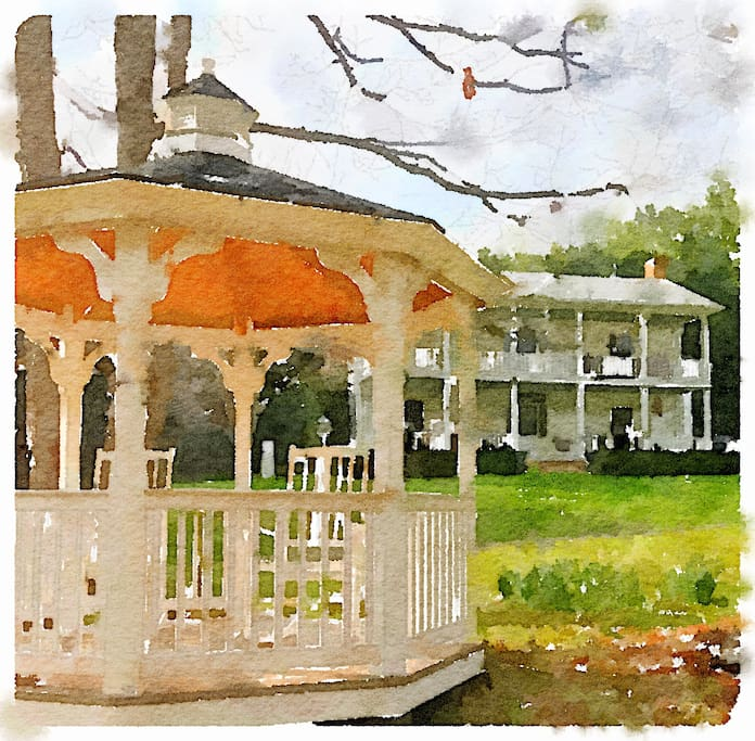 Watercolor view of the gazebo and house
