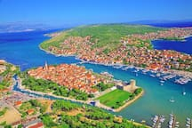 The town of Trogir and the island of Čiovo
