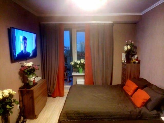 Уютная стильная студия с видом на Неву