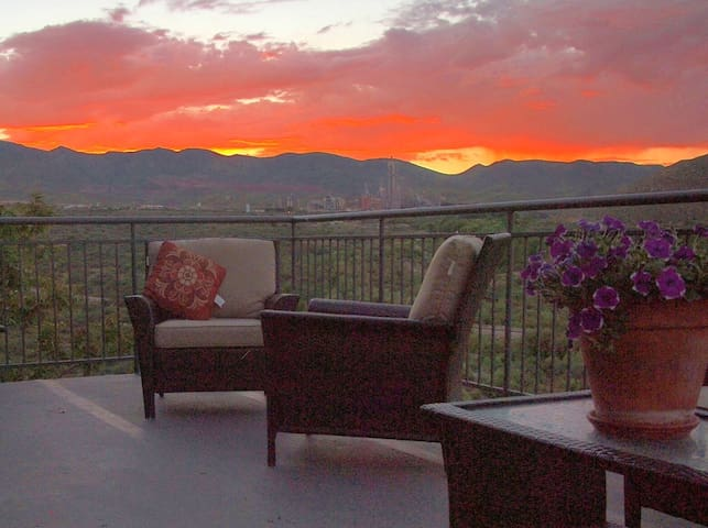 View deck at sunset. This is a common area available to all guests.