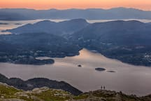 A great day trip is to walk to the mountaintop Kattnakken - with magnificent views of the fjords and sea nearby.