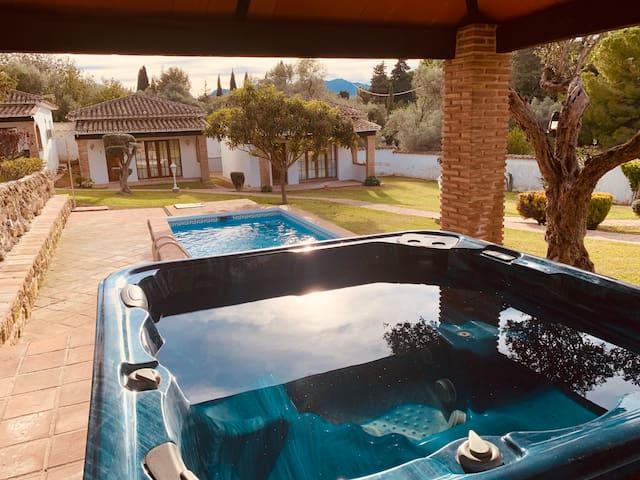 Studio house in garden with pool & hot tub /Uno
