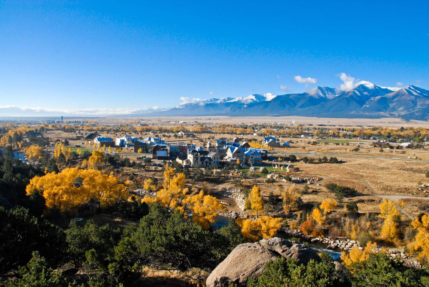 South Main, Buena Vista in the Fall. You can see Mt. Princeton, Antero, Shavano, and Tabeguache