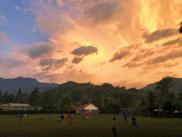 Sunset view of the pitch, three minute walk away