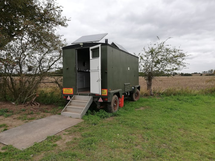Vintage army trailer glamping pod
