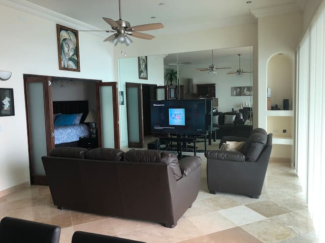 """LIVING ROOM WITH 65"""" SMART TV, WITH SORROUND SOUND,AND A BLUE TOOTH LOUD SPEAKER"""