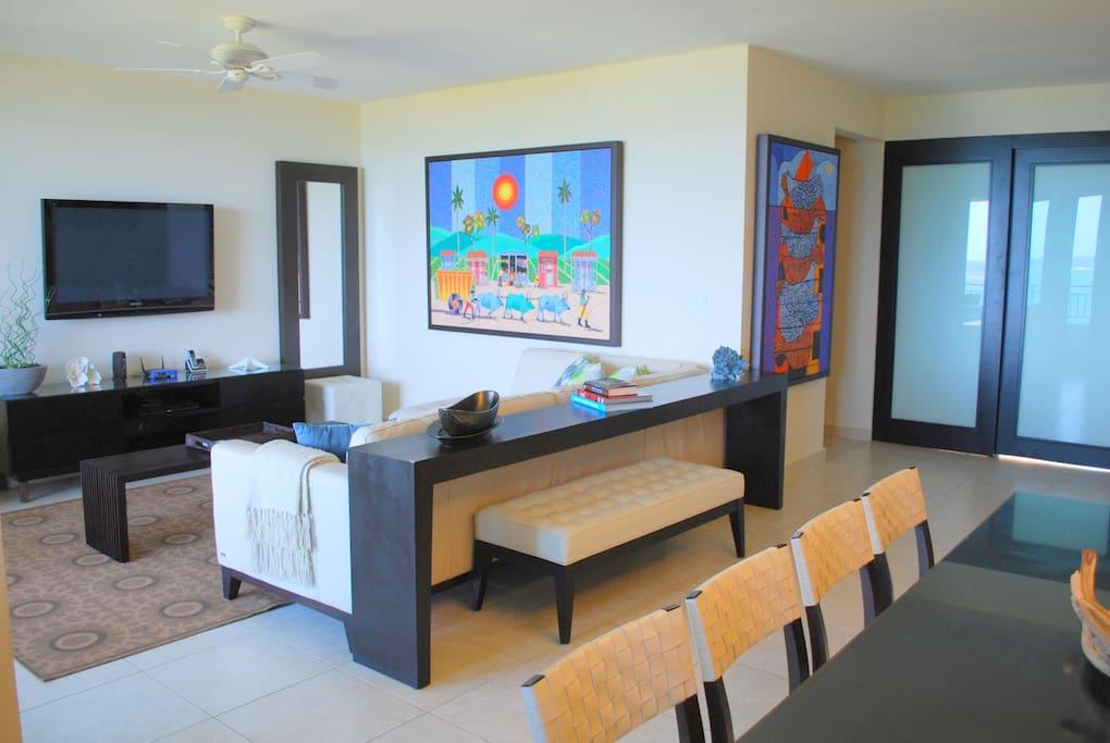 Flat screen tv in living area/ open floor plan