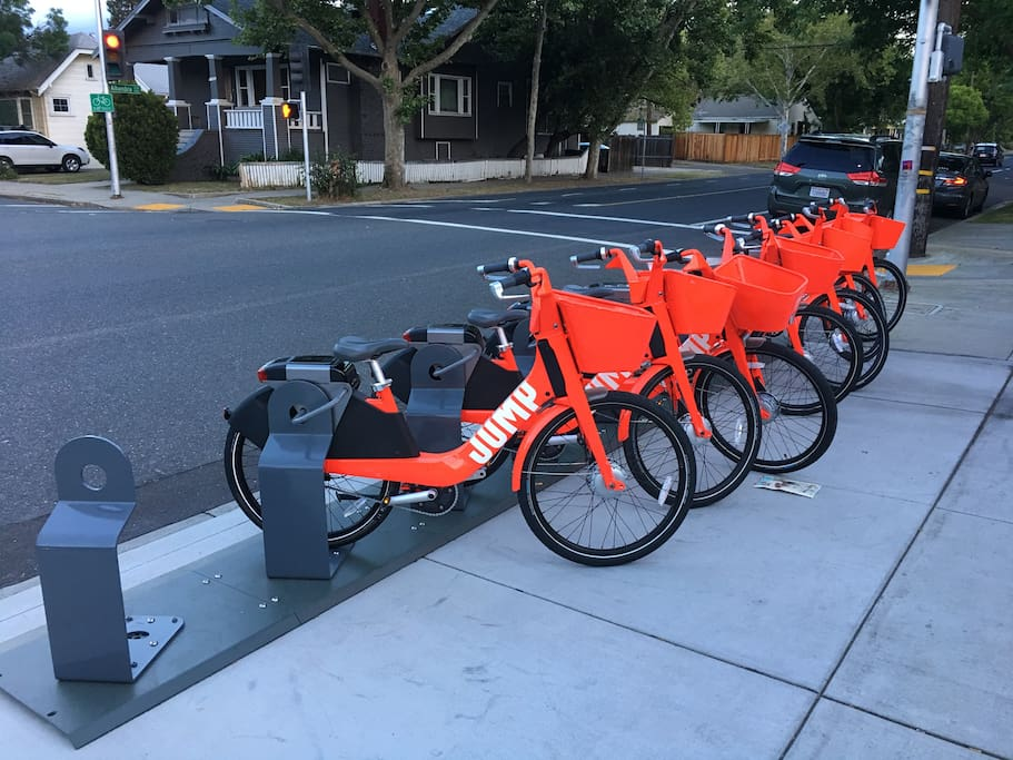 Jump bike rental station is located on our block. It's easy to use and it's an e-assist bike so you're not just depending on yourself to peddle, the bike is helping as well.