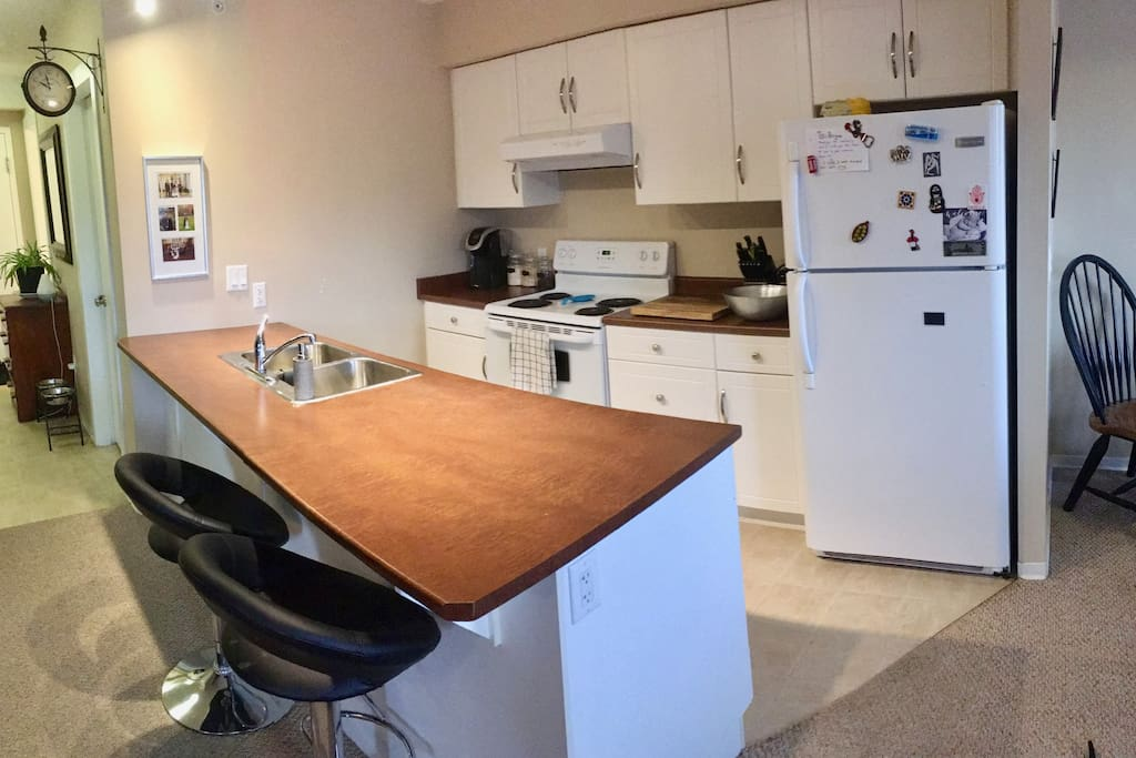 Full kitchen available for use of cooking and storing food. All appliances provided.