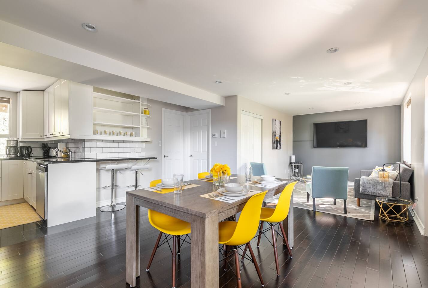 Beautiful newly renovated open concept kitchen, dining and living area
