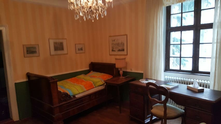 Single bed with desk and view to the garden