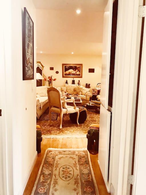 Hallway between bedroom and bathroom