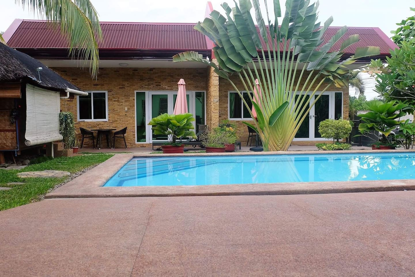 The private space for rent is just in front of the outdoor pool.