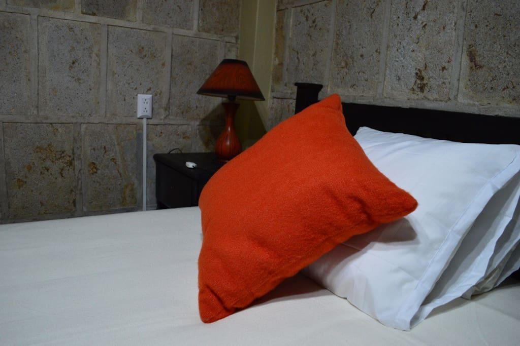 Habitación con cama matrimonial y servicio sanitario privado